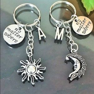 2 Sun and Moon Keychains, No matter where Friends